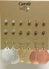 Tone Gold,Rose Gold,Silver,Crystal,Pear Shape Earrings New Carole 9 Pc Set Tri