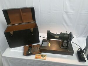 Vintage White Rotary Sewing Machine E-6354, Foot pedal And Case Plus Accessories