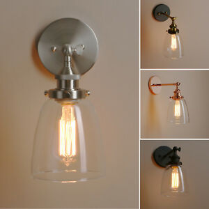 Pathson Retro Industrial Style Cloche Clear Glass Wall Lamp Antique Sconce Light