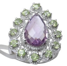 925 Sterling Silver Amethyst And Peridot Gemstone Ring Women Fashion Jewelry