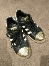 ADIDAS SUPERSTAR black, white and gold metal shell toe trainers. Size 5