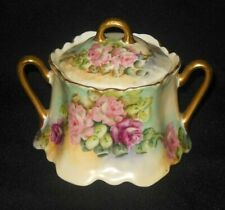 Z S CO BAVARIA HAND PAINTED SCROLLED SUGAR BOWL PINK LAVENDER ROSES 1880