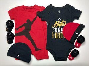 AIR JORDAN Baby Boys 6 pieces GIFT SET: Bodysuits, Cap & Booties 0-6 Months
