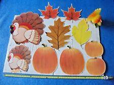 Old Vintage Thanksgiving Cardboard Die Cut Decoration Turkey Pumpkin Honeycomb