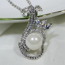 18K White Gold Filled Clear CZ Shell Pearl Women Jewelry Necklace Pendant P2548