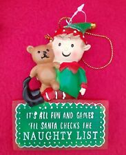 Boy Elf - Christmas Tree Decoration - Naughty List - Brand New
