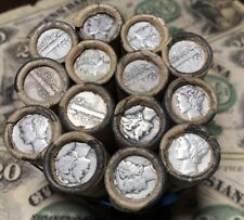 Unsearched 1916-1945 PDS Mercury Silver Dime Roll $5 Window Wrapper Roll