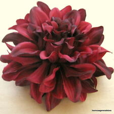"4 1/2"" Deep Red Dahlia Silk Flower Brooch Pin, Wedding,Prom,Dance,Bridal"