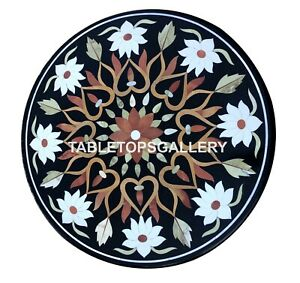 "24"" Marble Center Coffee Table Top White Floral Mosaic Inlay Outdoor Decors B014"