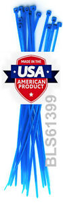 """100 USA Made TOUGH TIES 6"""" inch 40lb Nylon Tie Wraps Wire Cable Zip Ties Blue"""