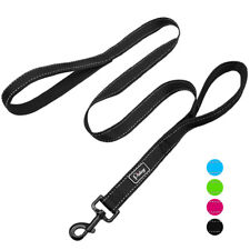 4ft Dog Leash with 2 Handle Reflective Nylon Padded Dual Handle Traffic Leads
