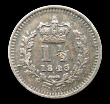 More details for victoria 1843 silver young head threehalfpence - ef