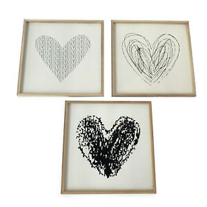 Wooden Black & White Love Heart Bedroom Wall Picture Art Print Gift CLEARANCE