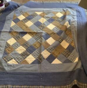 Woolrich Home denim blue tan quilt blanket 82x82 rustic patchwork