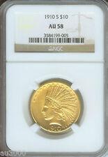 1910-S $10 Indian Eagle Ngc Au58 Au-58 Scarce Date !