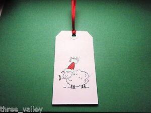 10 X HANDMADE LARGE CHRISTMAS XMAS SHEEP SPARKLE GIFT TAGS LUGGAGE LABELS