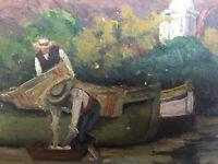 Très Belle peinture HSP huile sur panneau Pecheur Barque PAys Basque Art