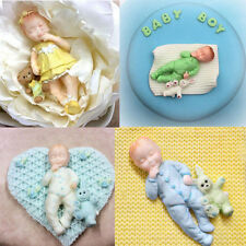 3D Bebé que duerme Oso De Chocolate Molde de Silicona Fondant Pastel Decoración Molde de gelatina Boy