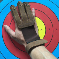 Protective 3 Finger Leather Gloves Hunting Archery Arrow Shooting Arm Guard Gear