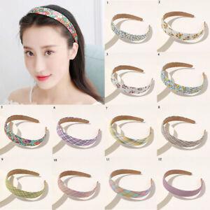 Women Sweet Floral Plaid Striped Print Headband Fashion Vintage Hair Accessories