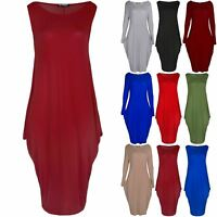 Ladies Womens Lagenlook Side Pockets Sleeveless Italian Drape Baggy Midi Dress