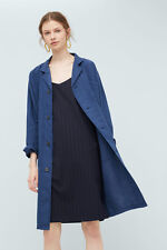 MANGO blue linen trench coat soprabito giaccone lino blu donna M BNWT