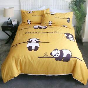 Yellow Panda Animal Tree Wild King Queen Twin Quilt Duvet Pillow Cover Bed Set