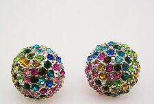 """Joan Rivers Multi Crystal PIERCED  3/4"""" Silvertone"""