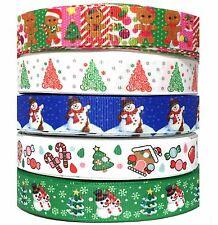 "Grosgrain Ribbon 7/8"" Christmas 5 yards mixed lot #4 Wholesale  Bulk USA SELLER"