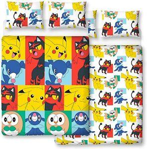 Pokemon Newbies Reversible Double Bed Duvet Cover Set Bedding Kids Boys Girls