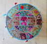 Sky-Blue Patchwork Embroidered Round Indian Pouf Ottoman Foot Stool pouffe