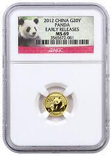 2012 China 1/20 oz Gold Panda ¥20 Coin NGC MS69 ER (Panda Label) Prepper Bug Out