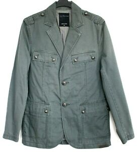 Calvin Klein Jeans Jacket Mens Military Style Branded Buttons Grey Size M NWOT