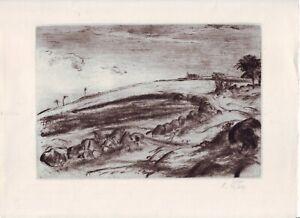 Karel Štika, etching&dry point/ Kaltnadelradierung: A Stony Road/Steiniger Weg