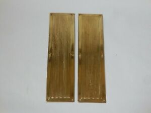 Pair of Vintage Ribbed Thin Brass Door Finger Push Plates #1533