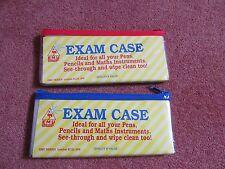 2 x Clear See Through Exam Pencil Bag Pouch Cases