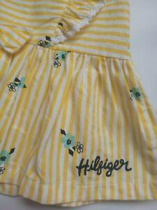 TOMMY HILFIGER baby girl dress size 3-6 mths yellow stripe blue flower lace trim