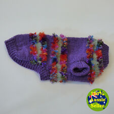 Colourful Warm Soft Hand-Knitted Dog Coat Jumper.  Fits Small Toy Dog. S213