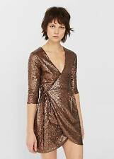New! Stunning! Mango Sequined Champan Dress Size L Brown Stylish Fashion