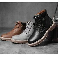 Men's Military Ankle Martin Boots Leather Desert Shoes Outdoor Hiking Motorcycle