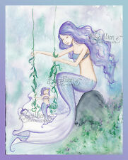 The Swing Mermaid Print from Original Painting By Camille Grimshaw mother child