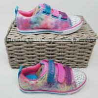 Skechers Twinkle Toes Girls Sparkle Lite Sneakers Pink Rainbow Brights 1 New