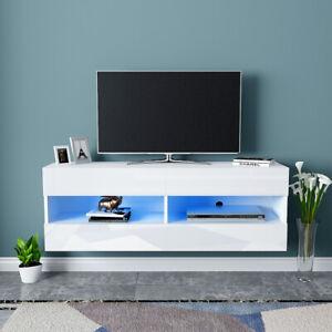 120cm TV Unit Stand Cabinet High Gloss Front Doors Blue LED Light Storage Shelf