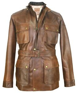 Mens Panther leather jacket Brown Benjamin Field Motorbike Military Brad Pitt