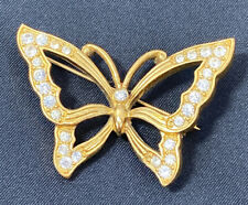 Design Gold-Tone Clear Rhinestones Vintage Brooch Pin Butterfly Monet