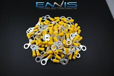 10-12 GAUGE VINYL RING 5/16 YELLOW 50 PK CRIMP TERMINAL CONNECTOR AWG WIRE AUTO