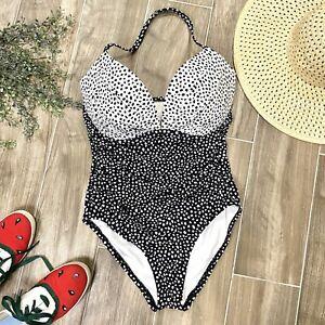 Victorias Secret Black White Polka Dot The Angel One Piece Swim Suit 36DD