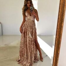 sexy sequin gold pink sheer high split ball gown cocktail dress 10 NEW