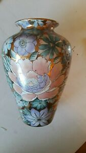 Golden Peony Toyo Floral Pattern Decorative Vase by H.F.1017N 10 inch