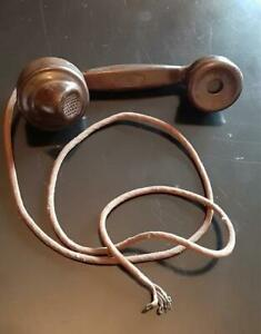 1930's British Brown Bakelite Telephone Handset with Braided Cord Dictograph